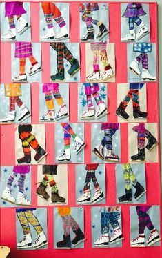 Winter Ice Skater Art Project for Kids. Use Popsicle sticks for the metal blade and yarn for lacing on the boot! Use stencil for ice skate. Winter Art Projects, School Art Projects, Art School, Art Patin, Art 2nd Grade, Club D'art, Arte Elemental, Classe D'art, January Art