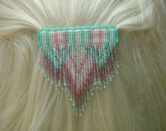 Sm white, green, and pink Newlines with Dangles.  Handbeaded seed bead barrette.