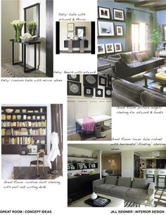 Concept board for a family room