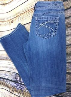 SILVER BRAND JEANS Aiko Boot Cut Distressed Denim Size 28 x 30 Women's Low Rise #SilverJeans #BootCut