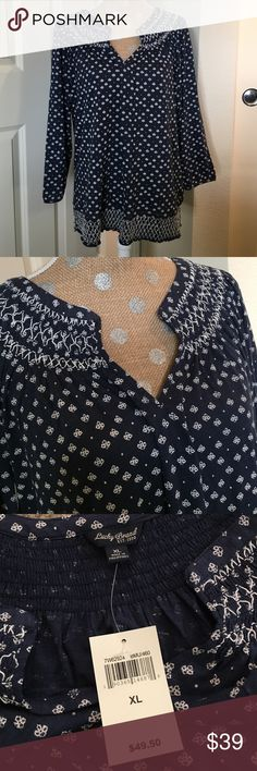 Lucky Brand too NWT! Blue and cream with V neckline.  Flattering design. Lucky Brand Tops