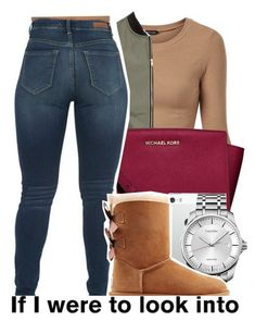 A fashion look from February 2016 featuring UGG Australia boots, MICHAEL Michael Kors messenger bags and Calvin Klein watches. Browse and shop related looks. Fall College Outfits, Fall Winter Outfits, Everyday Outfits, Summer Outfits, Winter Shoes, Teen Fashion, Fashion Outfits, Fashion Trends, Disney Fashion