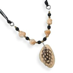 """16"""" Multistrand Cord Necklace with Wood Bead Drop"""