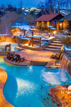 the thermal bath circuit is the winter routine we can really get behind. Plumbing Pipe Furniture, Plywood Furniture, Modern Furniture, Furniture Design, Exterior Design, Interior And Exterior, Outdoor Spa, Hotel Lobby, Blue Mountain