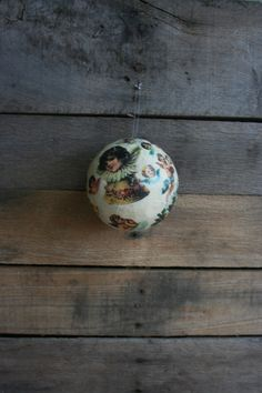 Vintage Decoupaged Christmas Ball Ornaments by vintapod on Etsy
