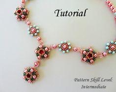 Beading tutorial instructions - beadweaving pattern beaded seed bead jewelry - EOWIN beaded necklace beadwoven beadwork