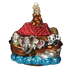 Old World Christmas Noah's Ark Glass Blown Ornament *** Click image to review more details.