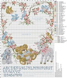 Birth sampler A Little Birdie Told Me Cross Stitch Cards, Cute Cross Stitch, Cross Stitch Alphabet, Cross Stitch Samplers, Cross Stitch Animals, Modern Cross Stitch, Cross Stitching, Cross Stitch Embroidery, Baby Cross Stitch Patterns
