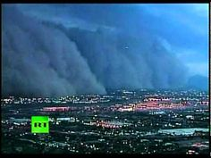 June 2011, These amazing pictures from the United States show a wall of dust moving through the city of Phoenix in Arizona. Sandstorms like this happen during the region's monsoon season, which is underway. They occur over desert land and can reach thousands of feet into the air, spurred by strong winds. The dense cloud dramatically reduced visibility, grounding flights at a major airport and leaving thousands without electricity.