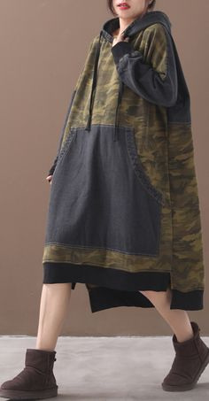 Classy patchwork cotton hooded quilting dresses Shape green Camouflage Plus Size Dresses Long Sleeve Cotton Dress, Cotton Dresses, Long Linen Dresses, Iranian Women Fashion, Fashion Tips For Women, Camo Outfits, Kpop Outfits, Stylish Dresses, Women's Fashion Dresses