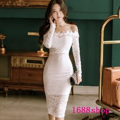 Off Shoulder White Lace Dress Women Autumn Slash Neck Long Sleeve Sexy Package Hip Pencil Bodycon Dress Office Party Solid Dress Cute Skirt Outfits, Sexy Party Dress, Party Dresses For Women, Elegant Outfit, Beautiful Asian Women, Sexy Asian Girls, Asian Fashion, Asian Beauty, Ideias Fashion