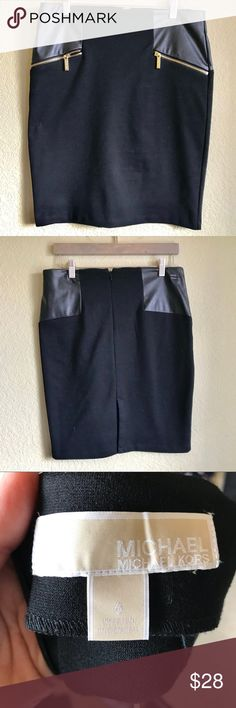 """Michael Michael Kors Black Mini Skirt Michael Michael Kors Black Mini Skirt Faux leather accents above the pockets Size 6  15.5"""" waist - laying flat 26.5"""" long  Polyester Viscose Elastane Blend  •••Thank you for looking and please check out the rest of my closet. MICHAEL Michael Kors Skirts Mini"""