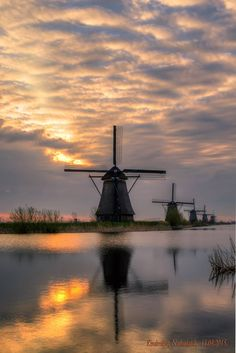 Early morning stroll in the Field of Windmills, Kinderdijk, Netherlands (HDR 5 exposures)