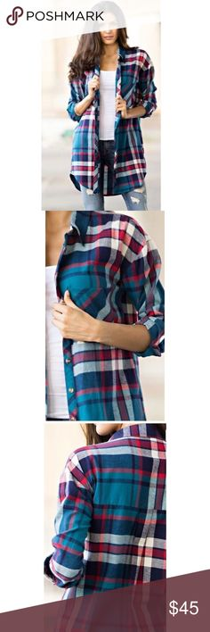 Plaid Button Up Blue Plaid oversized tunic button down top. Slight high low hem / side slits. Single pocket with pleated back.  Fabric 100% Cotton / Made in the USA Steeyzer Tops Button Down Shirts