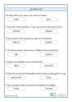 Comprensión lectora a partir de inferencias: ¿A dónde voy? Spanish Lessons Online, Spanish Teaching Resources, Spanish Language Learning, Speech Language Pathology, Speech And Language, Bilingual Classroom, Elementary Spanish, Reading Comprehension, Speech Therapy