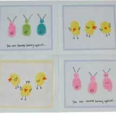 Thumbprint animals for Easter cards/crafts