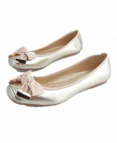 Golden Square Toe Ballet Flat Shoes with Bow Detail