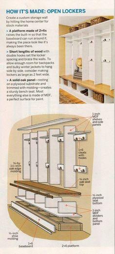 mudroom lockers Best mudroom storage bench diy drop zone Ideas lockers with bench plans How Mudroom Storage Bench, Mudroom Laundry Room, Diy Garage Storage, Storage Racks, Closet Mudroom, Front Closet, Entryway Storage, Wood Storage, Furniture Storage