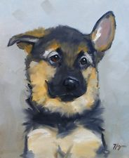 Original oil painting portrait of a german shepherd dog puppy by j