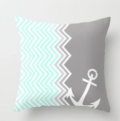 Nautical Chevron Throw Pillow by Sunkissed Laughter