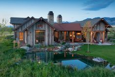 Cool Backyard Pond Design Ideas for You Who Likes Nature - Bailee News Timber Frame Home Plans, Timber Frame Homes, Rustic Houses Exterior, Architecture Design, Haus Am See, Montana Homes, Pond Design, Ponds Backyard, Backyard Barn