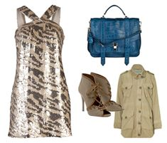 Rachel ZoeBrenda Dress, ClosedMilitary Jacket, AlaiaAnkle Boots  and Proenza SchoulerPS1Medium Leather Bag