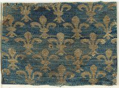 Silk Textile with Fleur-De-Lis Motif - Sicilian - 13th century