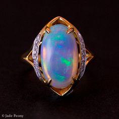 sale White Australian Opal Diamond Engagement Ring by jadepeony Gems Jewelry, Fine Jewelry, Women Jewelry, Jewellery, Opal Diamond Engagement Ring, Vintage Engagement Rings, Bff, Australian Opal, Opal Gemstone