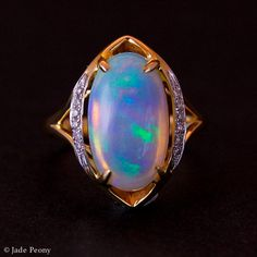 White Australian Opal Diamond Engagement Ring - Solid 14kt Yellow Gold
