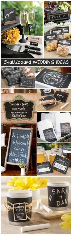Having a rustic wedding?  Check out these Chalkboard Wedding Decorations & Favor Ideas!