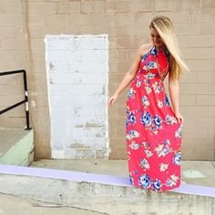 Bright Colors + Floral Print + Maxi Dress= MUST HAVE! 💕 #RibbonChix #springfever #floralfix