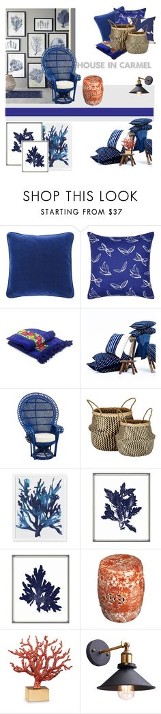 """""""ProjectDecorate: Blue Corals"""" by fl4u ❤ liked on Polyvore featuring interior, interiors, interior design, home, home decor, interior decorating, Yves Delorme, NOVICA, ferm LIVING and Murmur"""