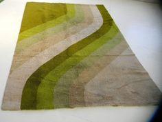 XXL midcentury 70s german pop art vintage shag rug loft rya floor art carpet