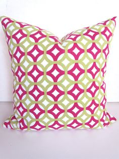 Sale PILLOW COVER 16x20 or 12x20 Decorative Throw Pillows PINK Lime Green Lumbar Throw Pillow Covers modern home and living home decor