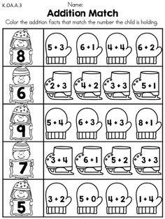 Addition Match >> Match the sum by coloring the skates and mittens with the correct equations >> Part of the Winter Kindergarten Math Worksheets packet math worksheets common core activities Kindergarten Math Worksheets, School Worksheets, Teaching Math, In Kindergarten, Math Activities, Printable Worksheets, Free Printable, Math For Kids, Fun Math