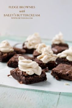 Fudge Brownies with Baileys Buttercream Frosting | www.diethood.com | Fudge Brownies topped with a Baileys Buttercream Frosting | #recipe #stpatricksday #brownies #irish #chocolate