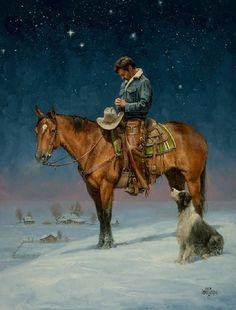 Christmas - The Old West Art of Jack Sorenson Real Cowboys, Cowboys And Indians, Cowboy Horse, Cowboy And Cowgirl, Films Western, Western Photo, Cowboy Pictures, Cowboy Christmas, West Art
