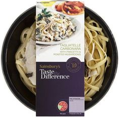 Sainsbury's Taste the Difference Tagliatelle Carbonara with Pancetta & Roasted Mushrooms Cake Packaging, Food Packaging Design, Salad Cake, Food Graphic Design, Roasted Mushrooms, Food Labels, Food Preparation, Snack Recipes, Meals