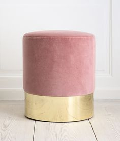 ottoman, pink with gold base