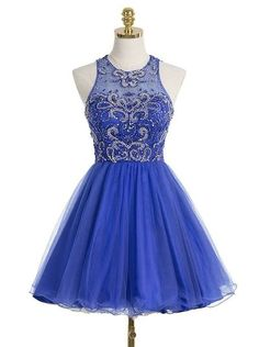 Royal Blue Short Tulle Homecoming Dress Featuring Beaded Embellished Halter Neck Bodice