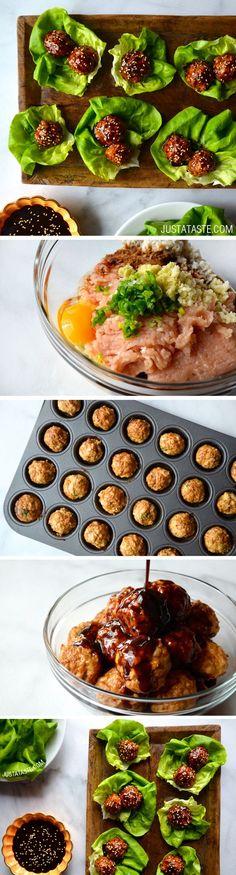 Baked Asian Chicken Meatball Lettuce Wraps #recipe on justataste.com