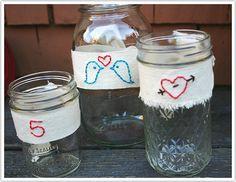 Something Crafty: Hand-Embroidered Mason Jars