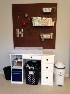 Nifty modern industrial nursery storage  changing table Industrial Nursery, Modern Industrial, Nursery Themes, Nursery Ideas, Room Ideas, Nursery Storage, Henleys, Nifty, Baby Room