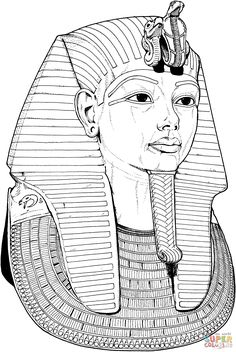 Egyptian coloring pages | Tutankhamun Death Mask Coloring page | Free Printable Coloring Pages