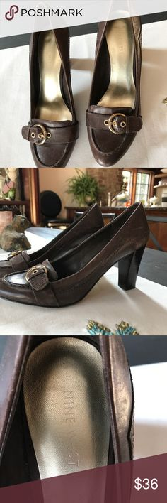Nine West brown heels Chocolate brown leather with gold bucket. Nine West Shoes Heels