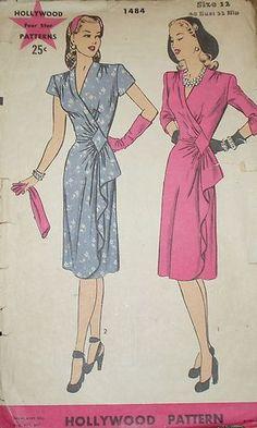 Vintage 1940s Hollywood 1484 GLAM Wrap Cascade Drape Dress Pattern 30B sz 12 | eBay 1940s Dresses, Vintage Dresses, Vintage Outfits, Vintage Dress Patterns, Clothing Patterns, 1940s Fashion, Vintage Fashion, Drape Dress Pattern, 40s Mode