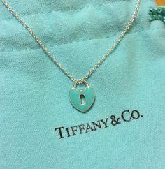 "Tiffany & Co Blue Mini Heart Lock Pendant 16"""