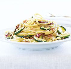 Fine Cooking | Tony Rosenfeld: Linguine with Zucchini, Pancetta ...