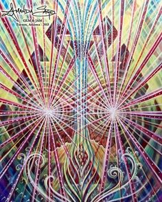 """'Crystal Union' - acrylic on canvas 30x40"""" begun live at Gem & Jam in Tuscon, Arizona 2015 - I'm offering this original as a donation to the current Kickstarter contributing to the building of the Entheon - a sanctuary dedicated to Visionary Art - love child of Alex Grey & Allyson Grey... Lots of amazing offerings are available!!! Check it out:::: buildentheon.com  @chapelofsacredmirrors @alexgreycosm @allysongreycosm #chapelofsacredmirrors #alexgrey #visionaryart"""