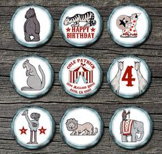 Circus Stickers or Address Labels Set of 12 Large. $6.00, via Etsy.